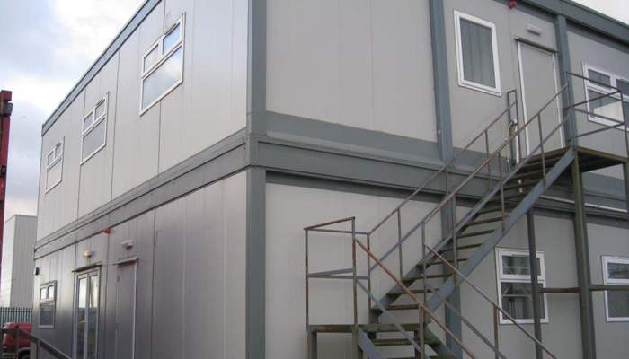 a space photo of a modular two storey cabin